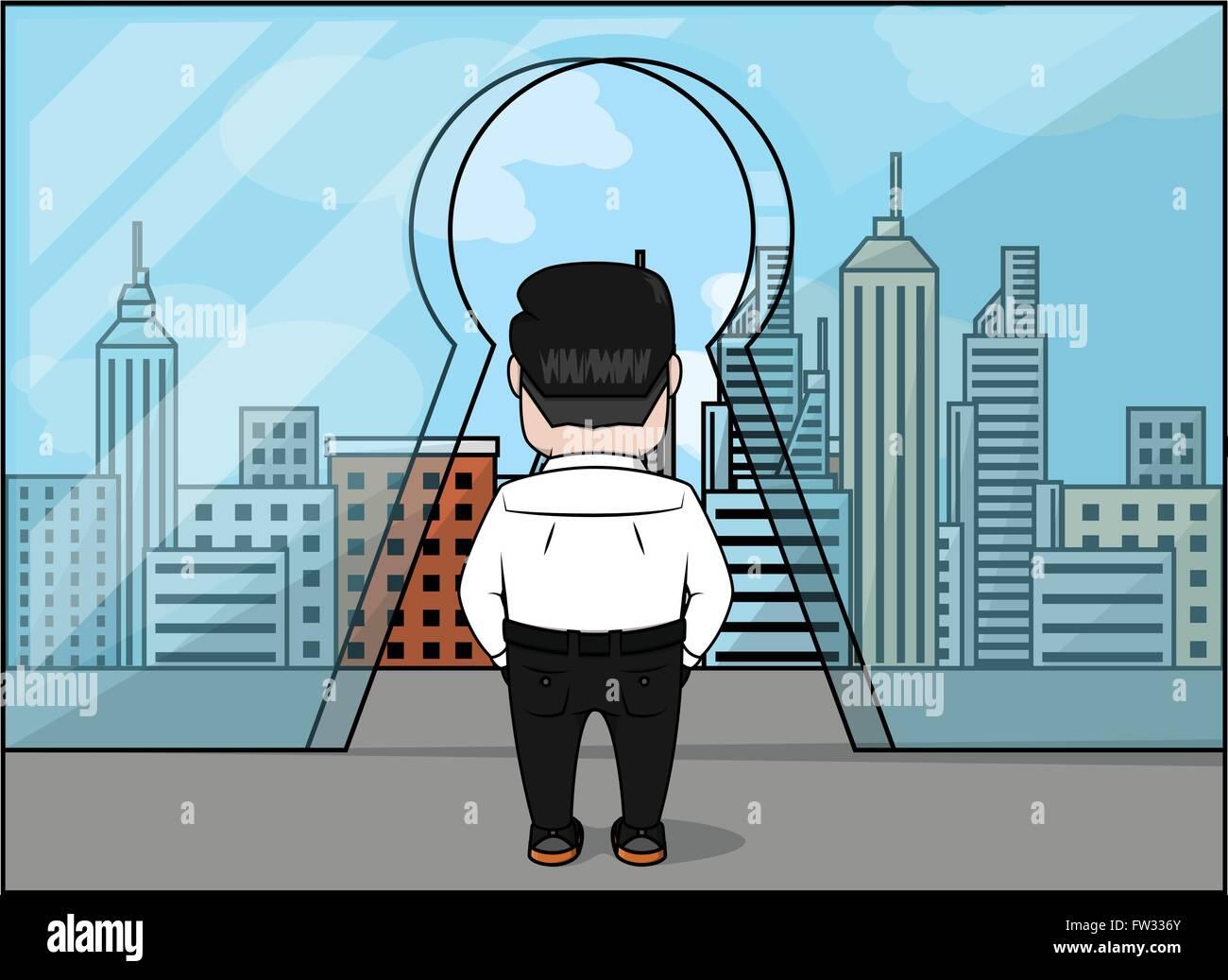 Business Man Walking Glass Door Stock Vector Images Alamy