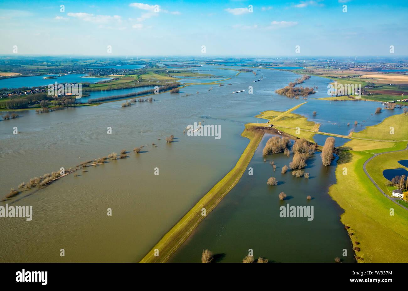 Aerial view of the Rhine floods, Wesel, Niederrhein, North Rhine-Westphalia, Germany - Stock Image