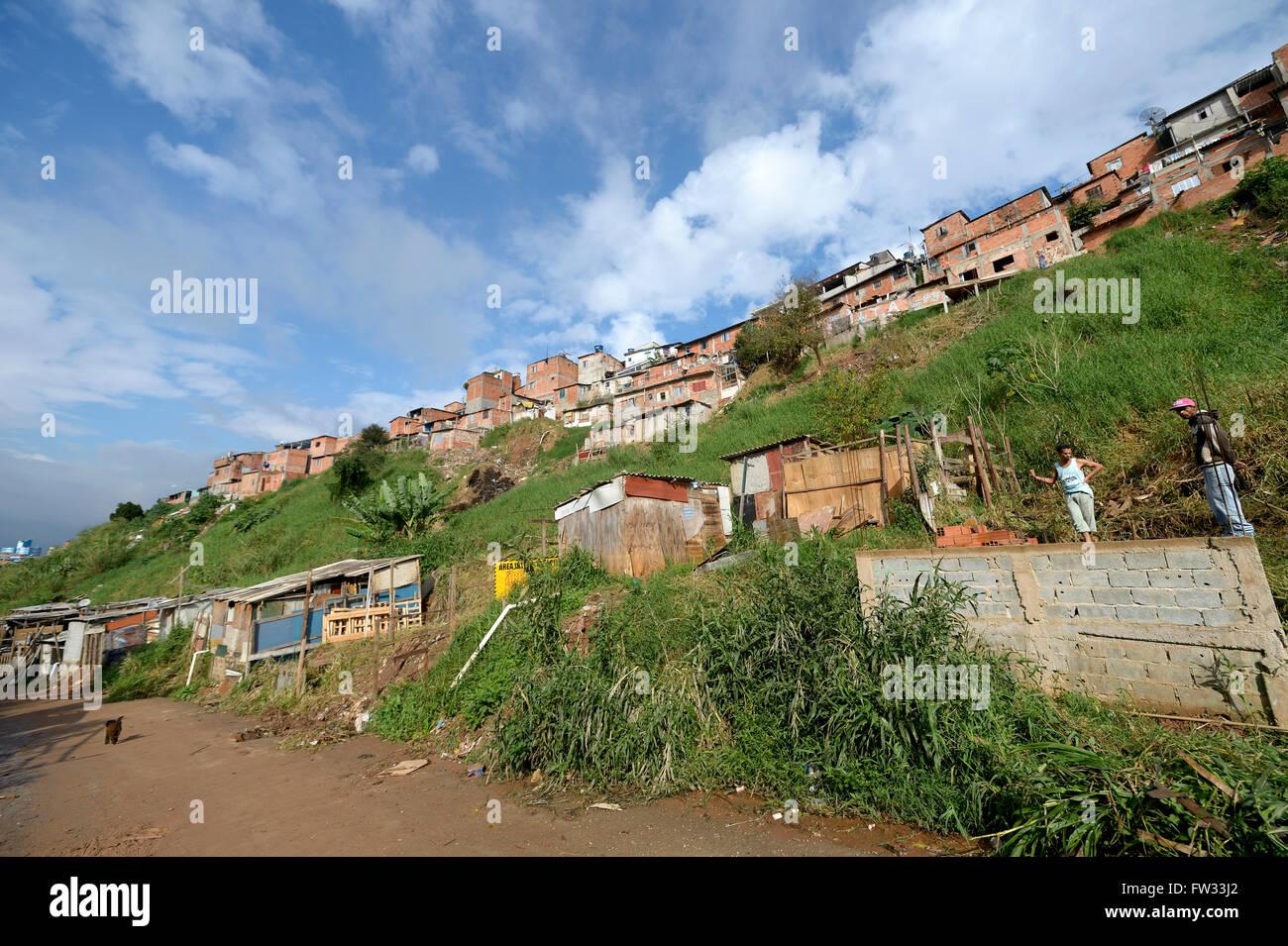 Favela, Sapopemba, Zona Sudeste, Sao Paulo of Brazil - Stock Image