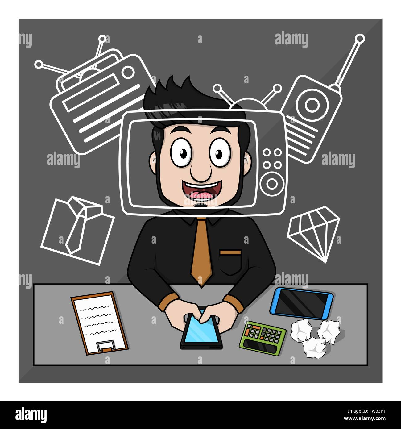 Business man getting famous  on tv - Stock Vector