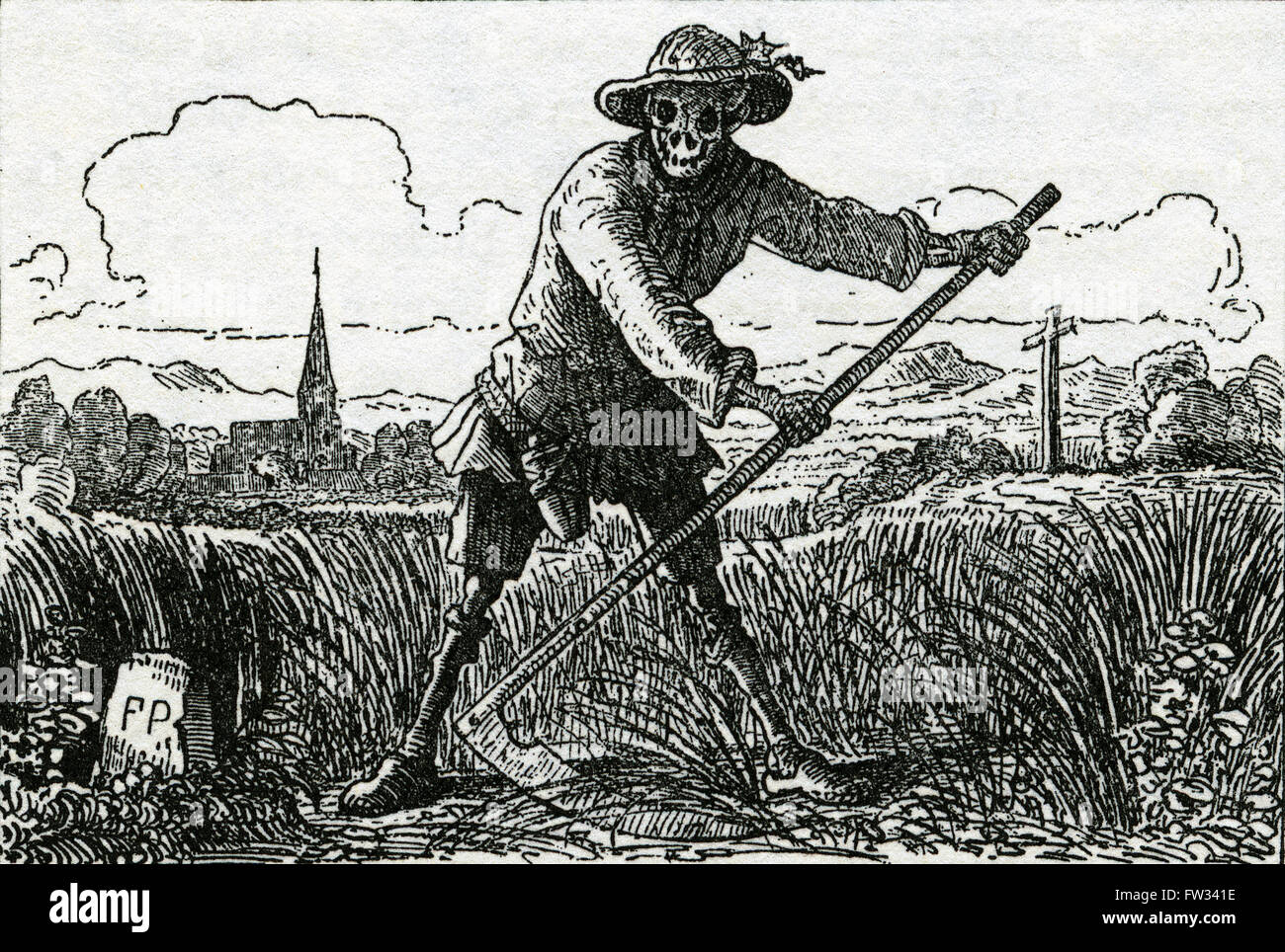 The Grim Reaper, drawing by Count Franz Pocci, 1807-1876 - Stock Image