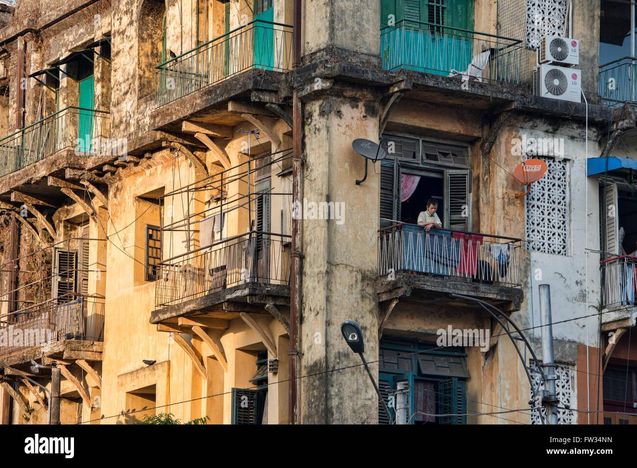 Crumbling Old Colonial Apartments In Yangon, Myanmar   Stock Image