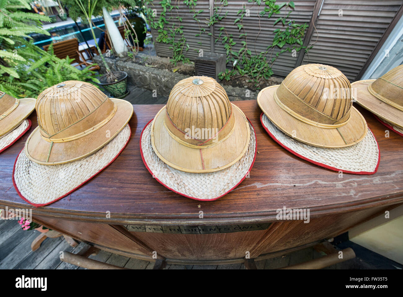 3afa186853779 Bamboo sun hats and fans at the Belmond Governor s Residence in Yangon