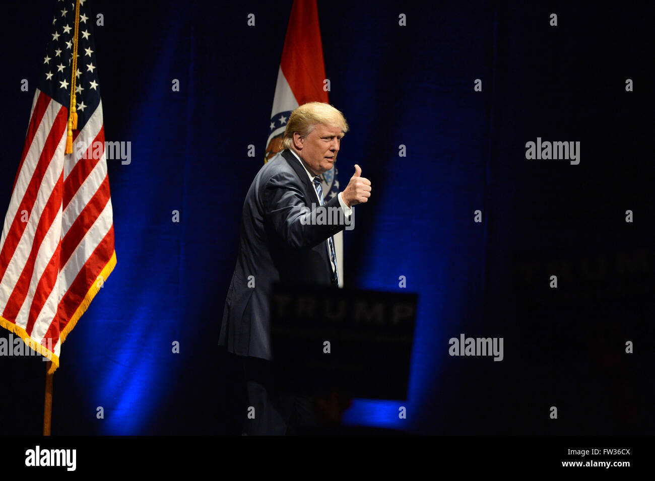 Saint Louis, MO, USA – March 11, 2016: Donald Trump talks to supporters at the Peabody Opera House in Saint Louis, - Stock Image