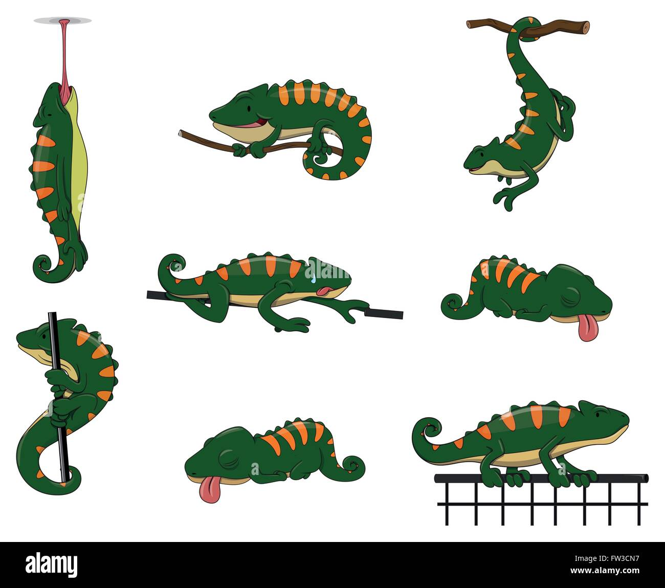 Chameleon Character set collection - Stock Vector