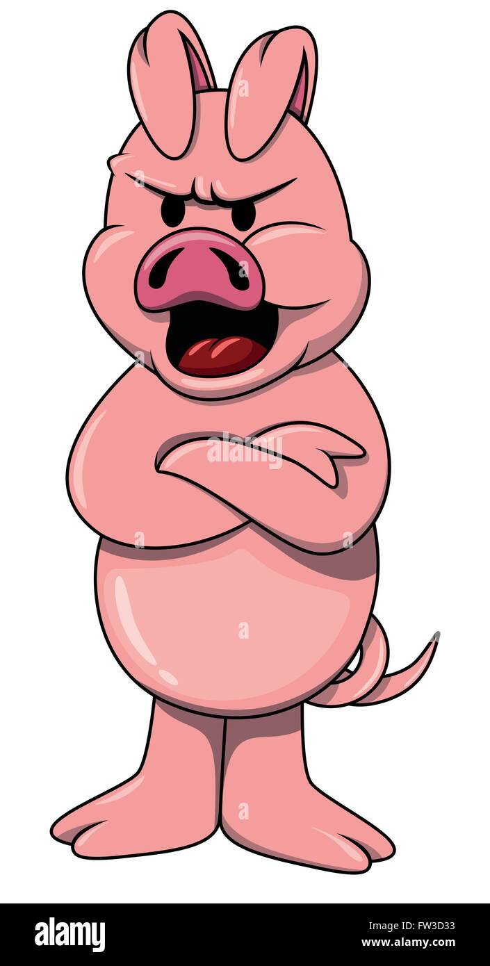 Cartoon Angry Pig On White Stock Vector Image Art Alamy