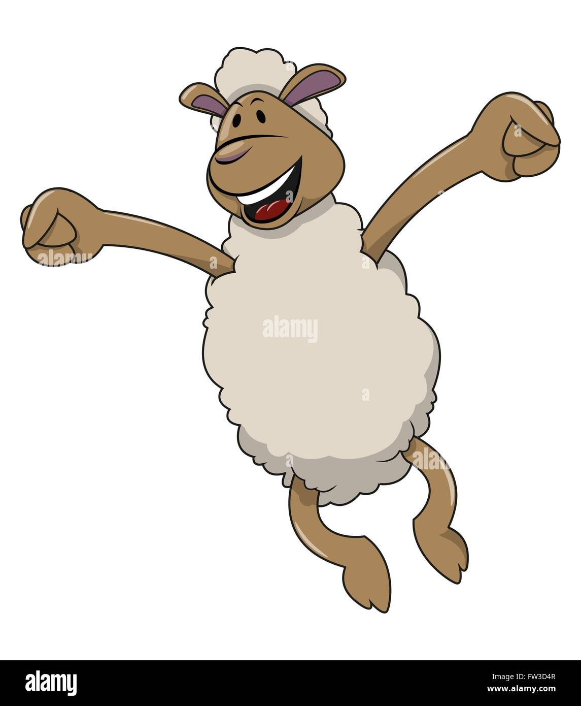 Happy jumping sheep Stock Vector