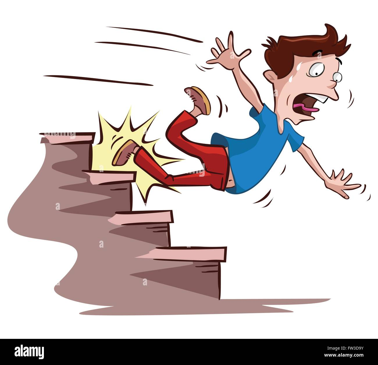 men slipped on the stairs - Stock Image