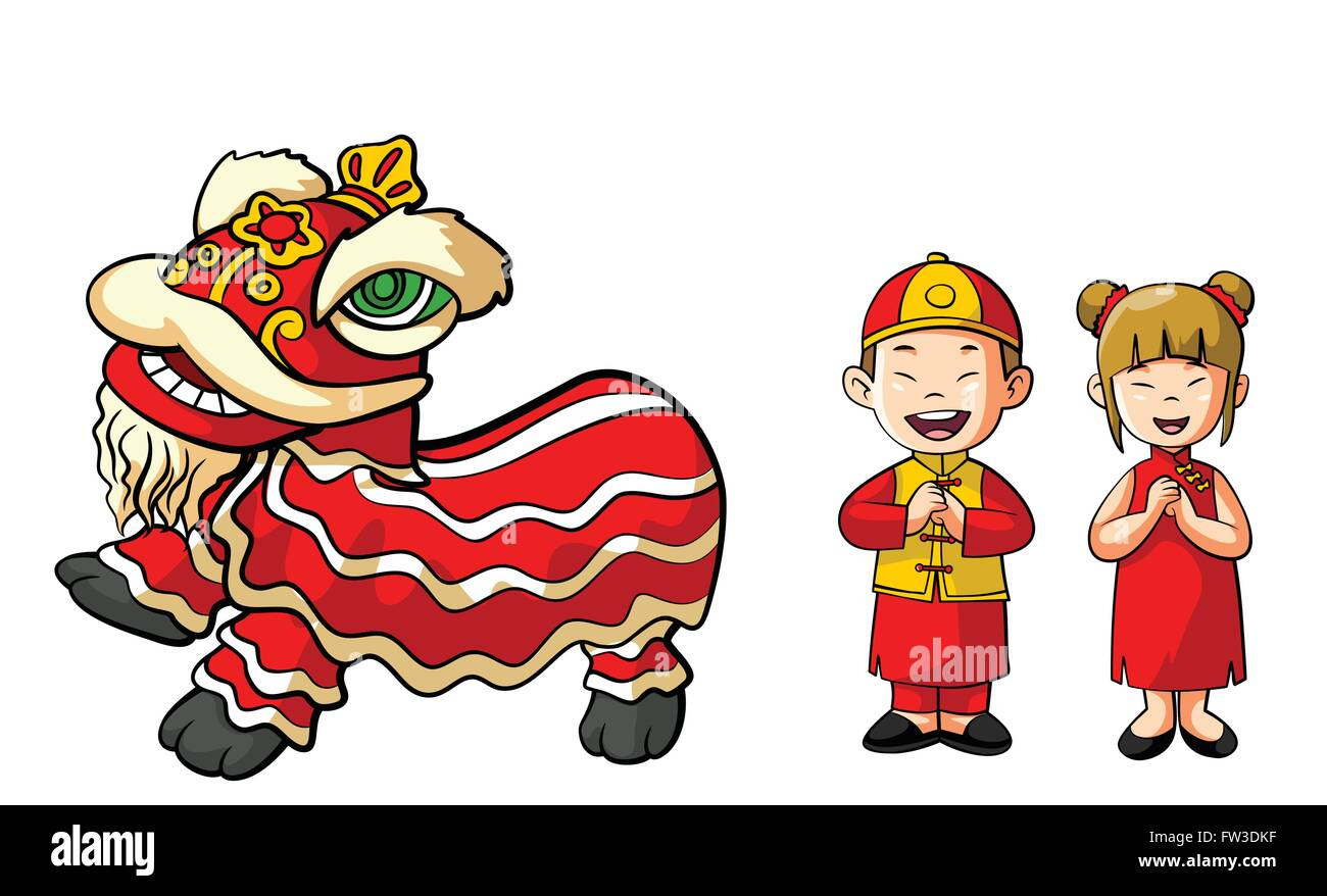 Chinesse Lion dance and Couple - Stock Vector