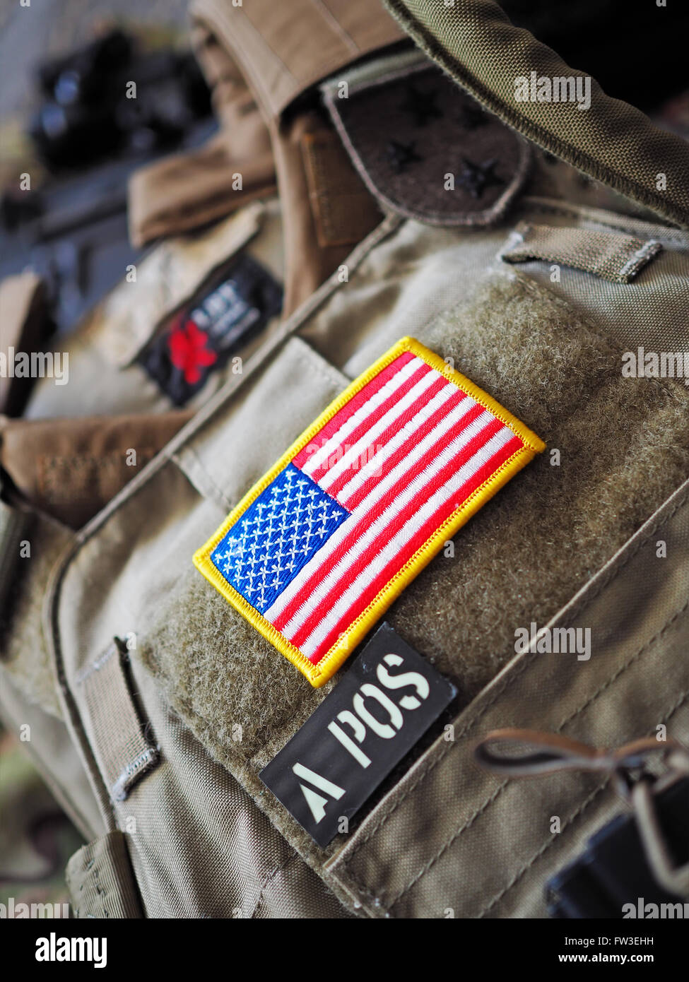 Los Angeles, CA, USA - January 24, 2016: LBT 6094A SLICK Plate Carrier with USA flag patch shallow depth of field - Stock Image