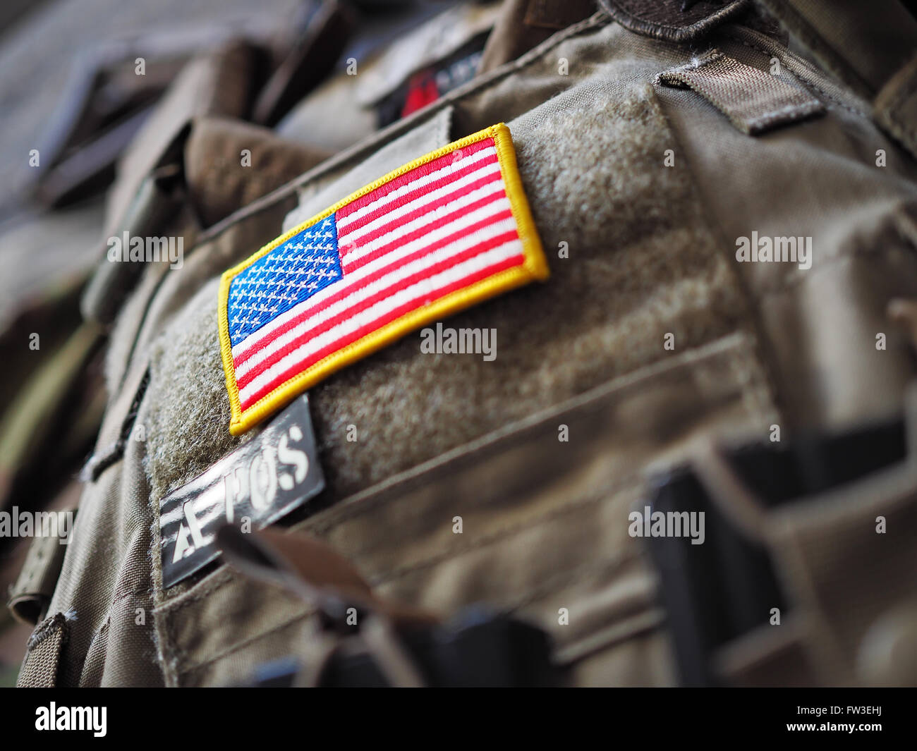Plate Carrier with USA flag patch shallow depth of field Stock Photo
