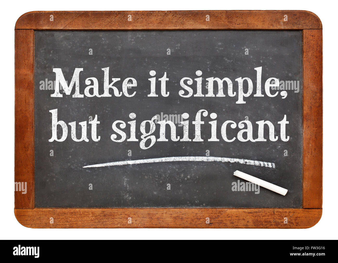 Make it simple, but significant - white chalk text on a vintage slate blackboard - Stock Image