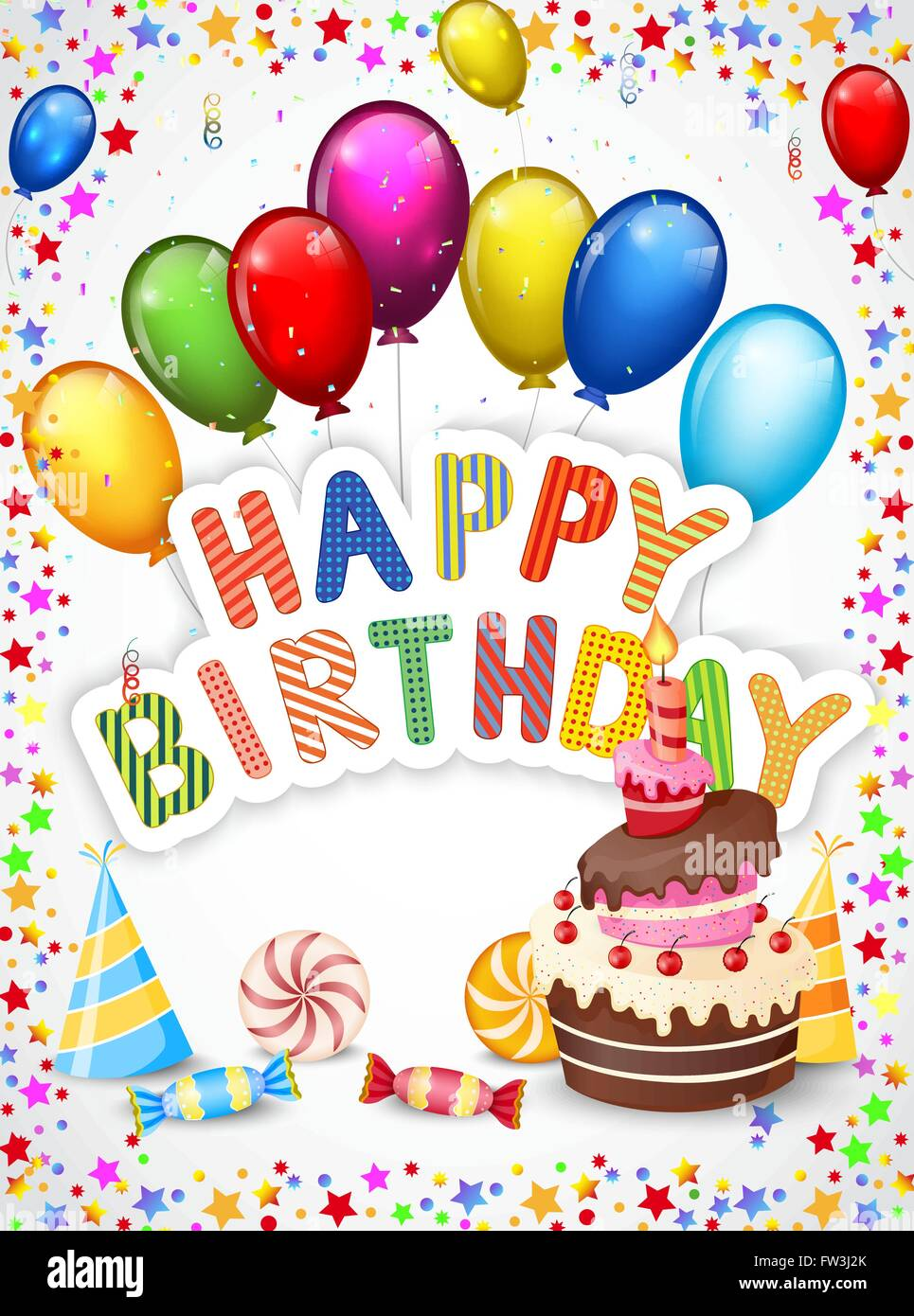 Admirable Birthday Cartoon With Colorful Balloon And Birthday Cake Stock Personalised Birthday Cards Veneteletsinfo