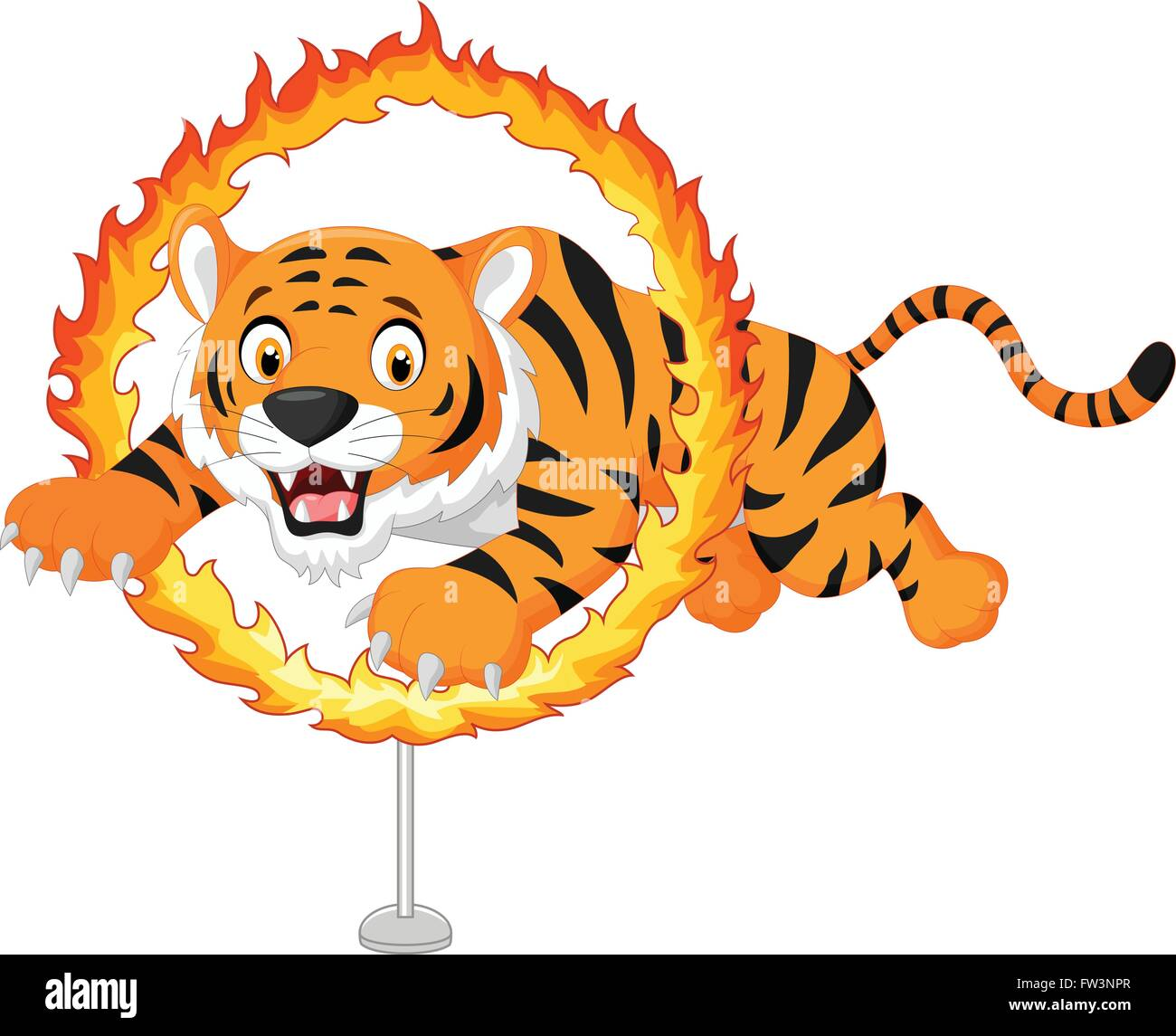 cartoon tiger jumps through ring of fire stock vector art rh alamy com Jumping through Ring of Fire Clip Art ring of fire clip art free