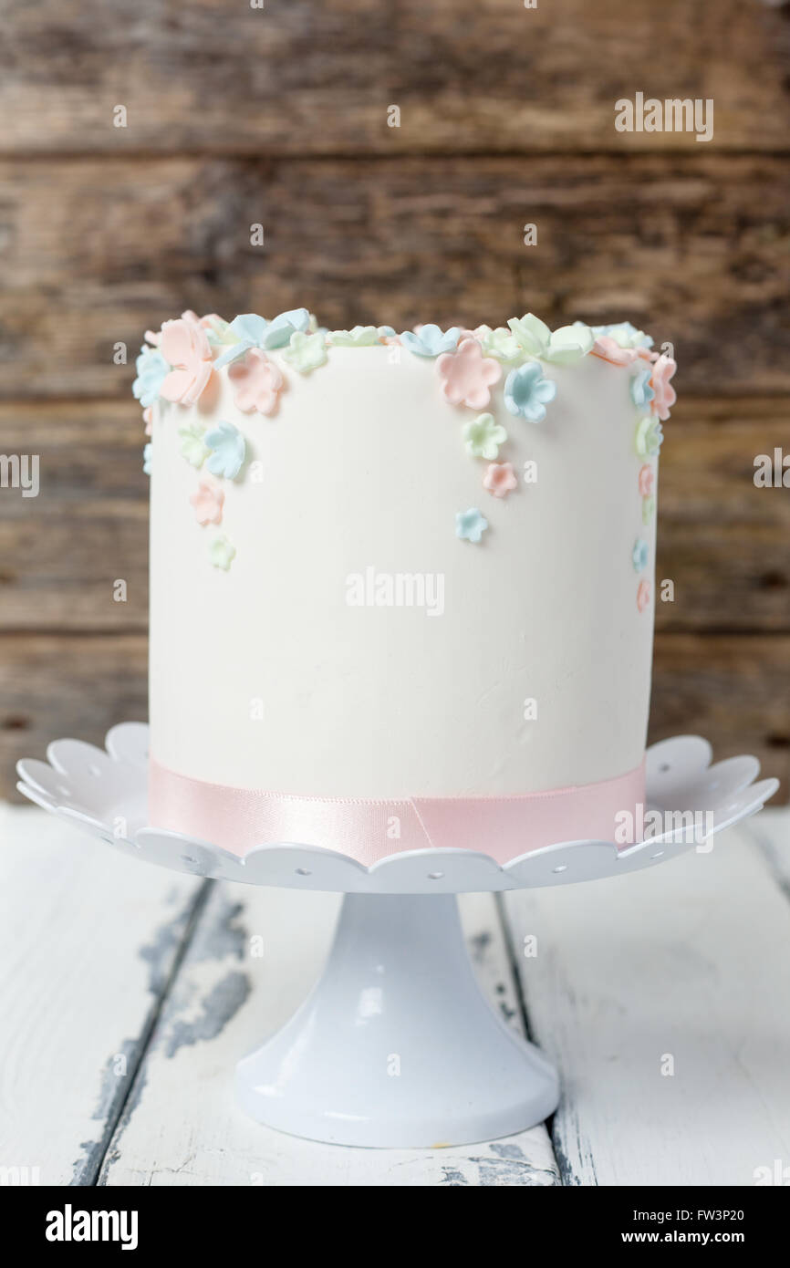 suger past decorated birthday cake - Stock Image
