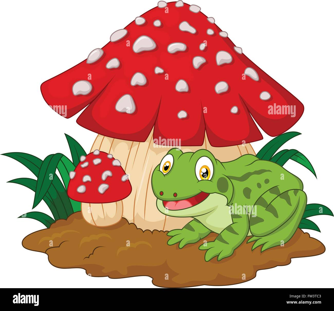 Cartoon frog basking under mushrooms - Stock Vector