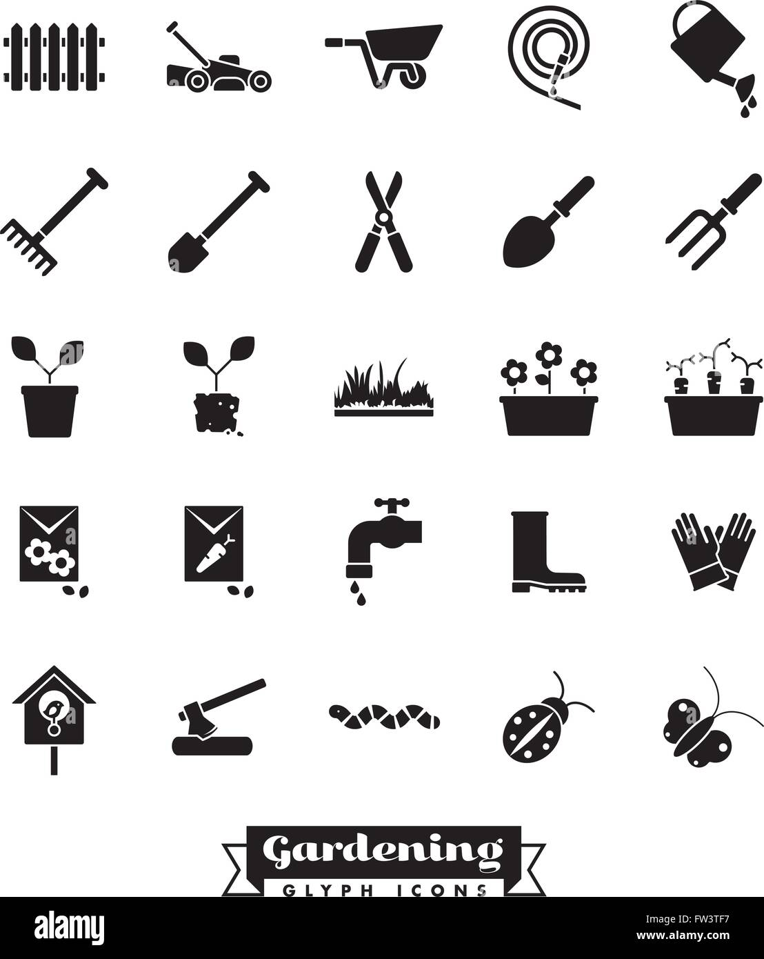 Gardening glyph icons collection - Stock Image