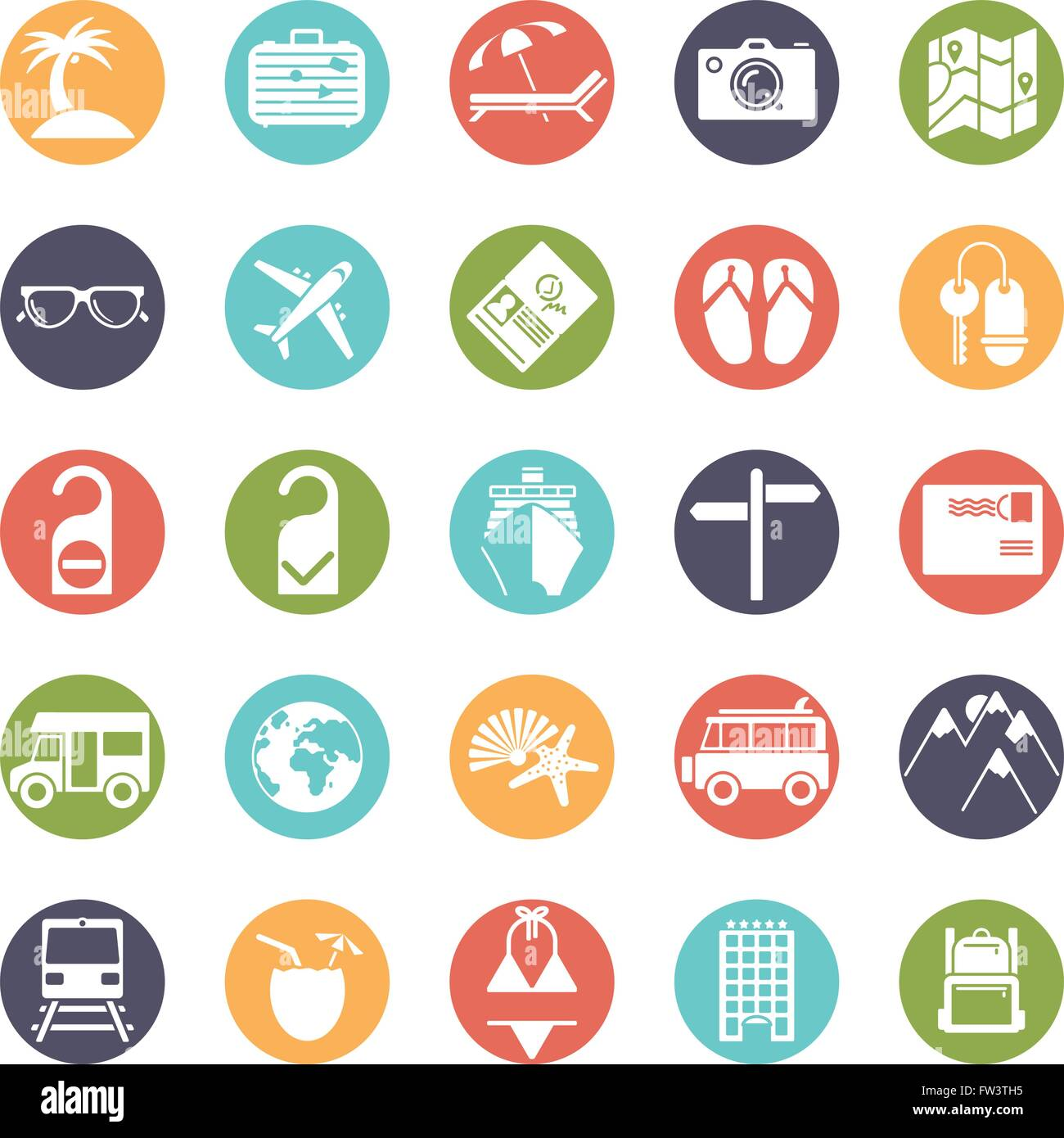 Travel and vacation glyph icons, negative in colored circles Stock Vector