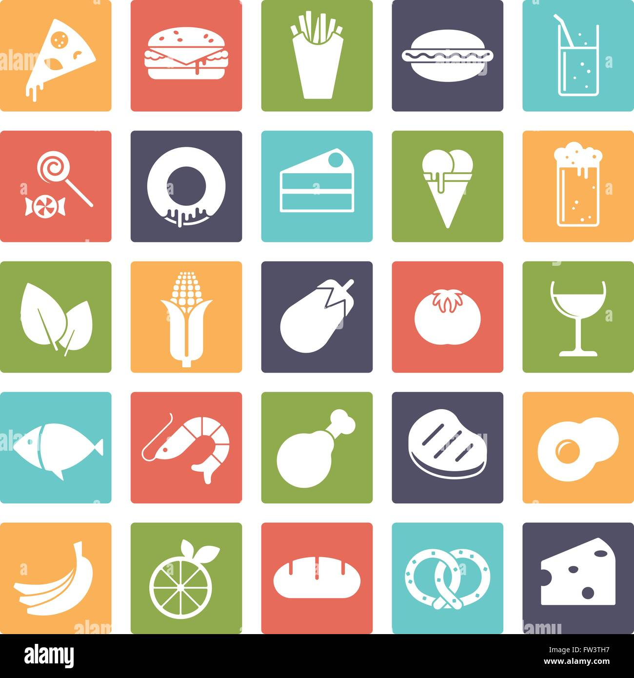 Food and drink vector icons, negative in colored squares - Stock Vector
