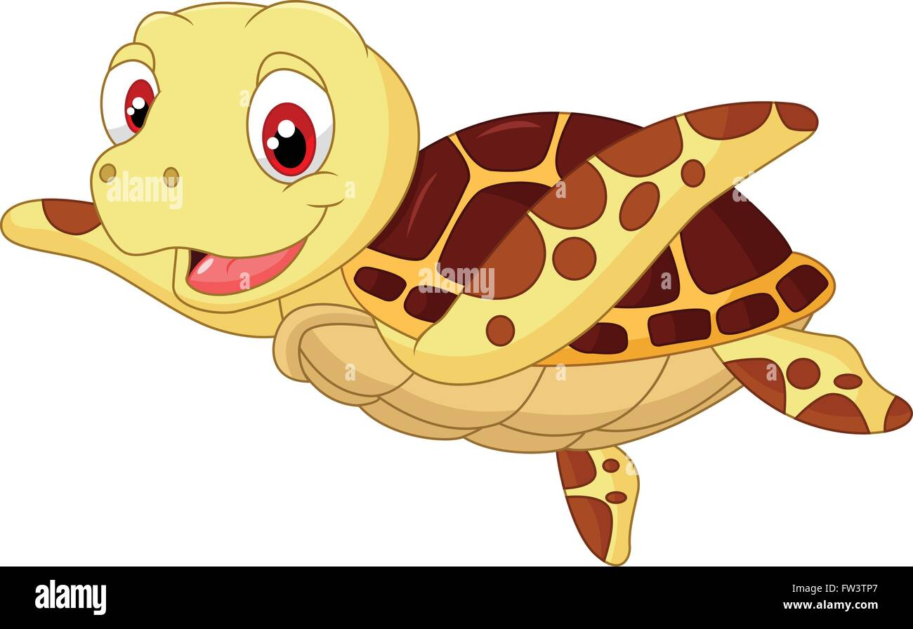 Cute Baby Turtle Cartoon Stock Vector Image Art Alamy