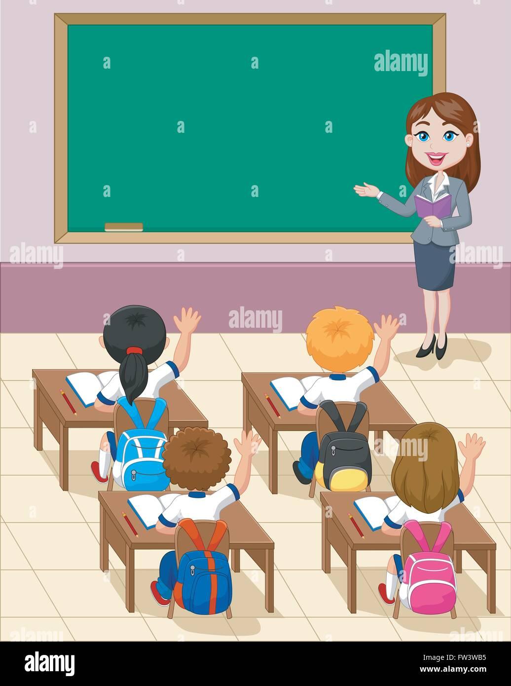 cartoon little kids a study in the classroom Stock Vector Art ...