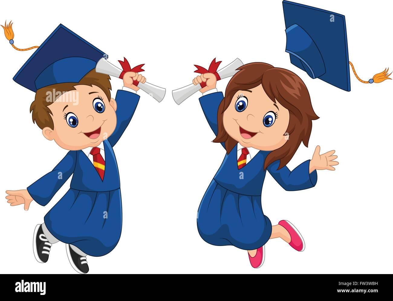 Cartoon Graduation Celebration Stock Vector Art