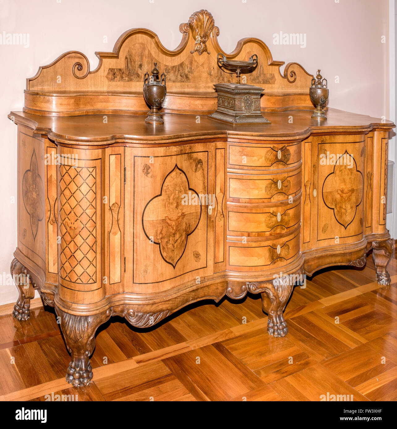 AZOV, RUSSIA- AUGUST 29- Ancient Commode, late 19th century in the museum - reserve on August 29;2015 in Azov - Stock Image