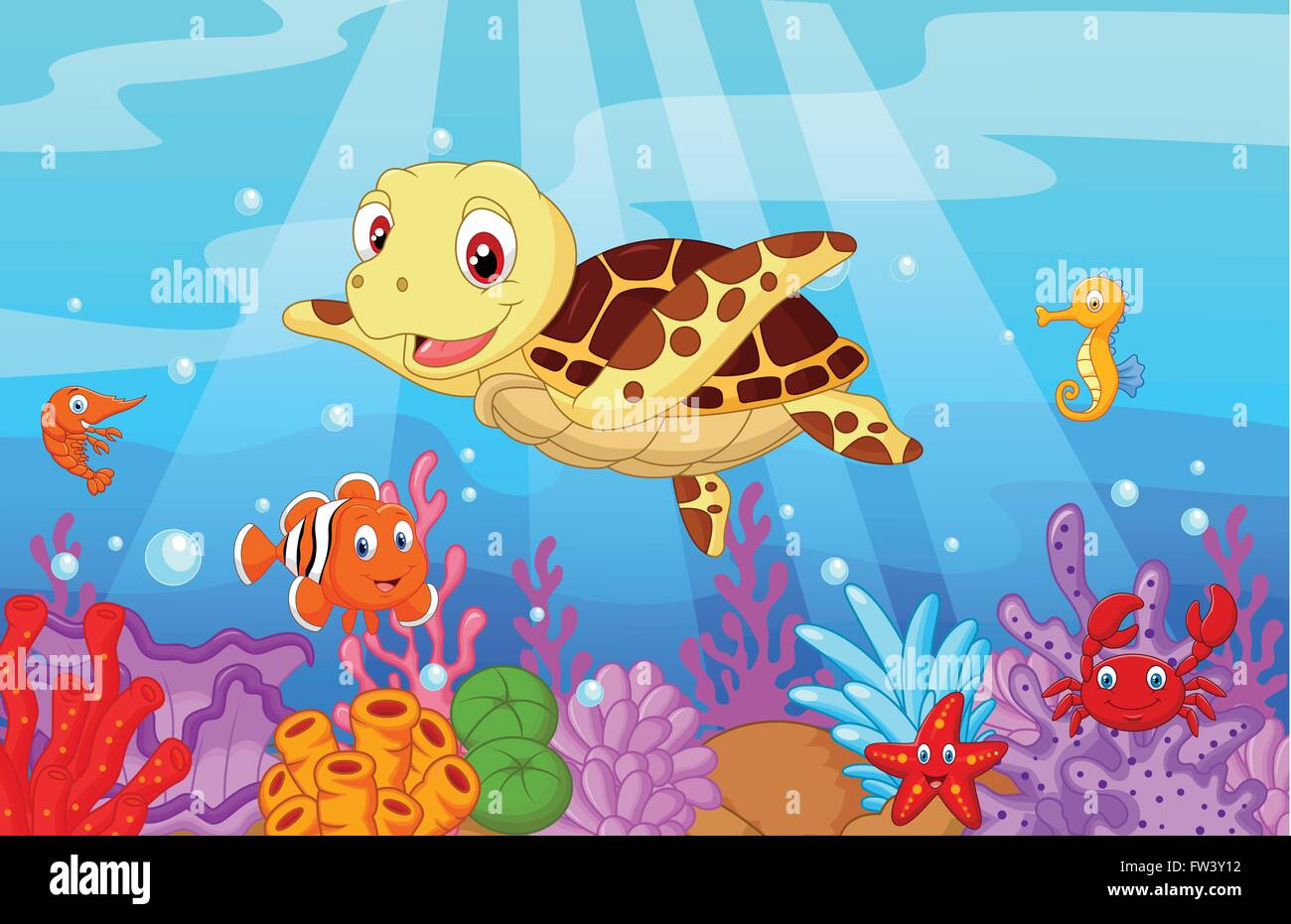 Cute Baby Turtle Cartoon With Collection Fish Stock Vector Image