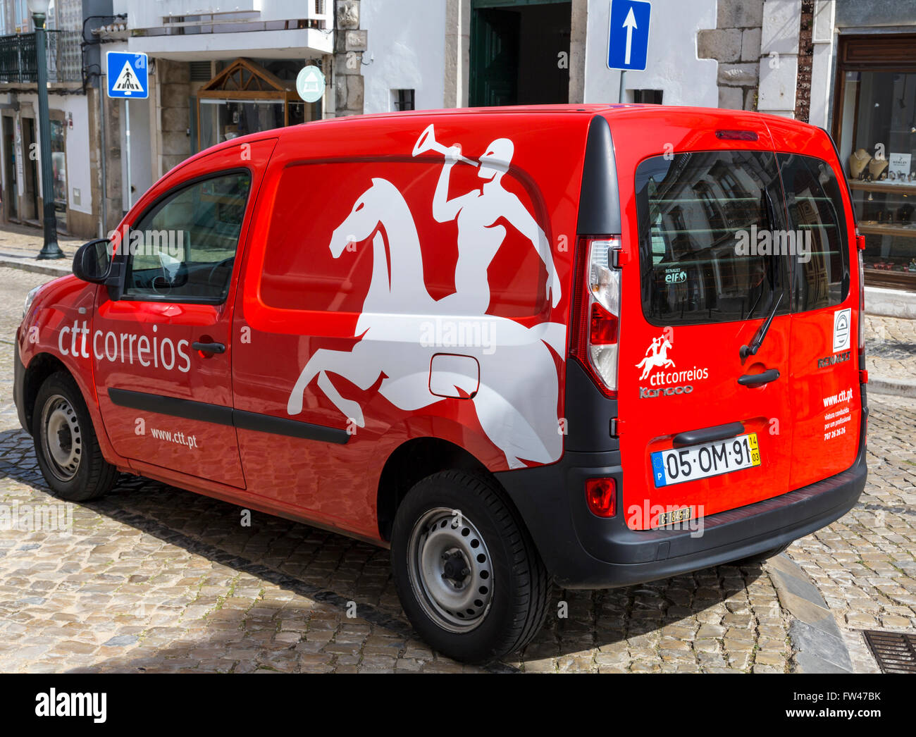 Postal Services of Portugal delivery vehicle. - Stock Image
