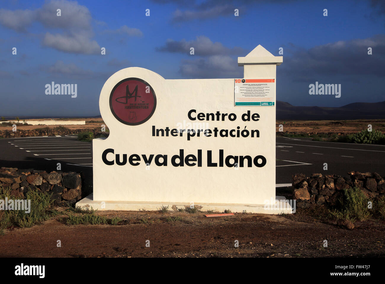 Sign for interpretation centre, Cueva del Llano, La Oliva, Fuerteventura, Canary Islands, Spain - Stock Image