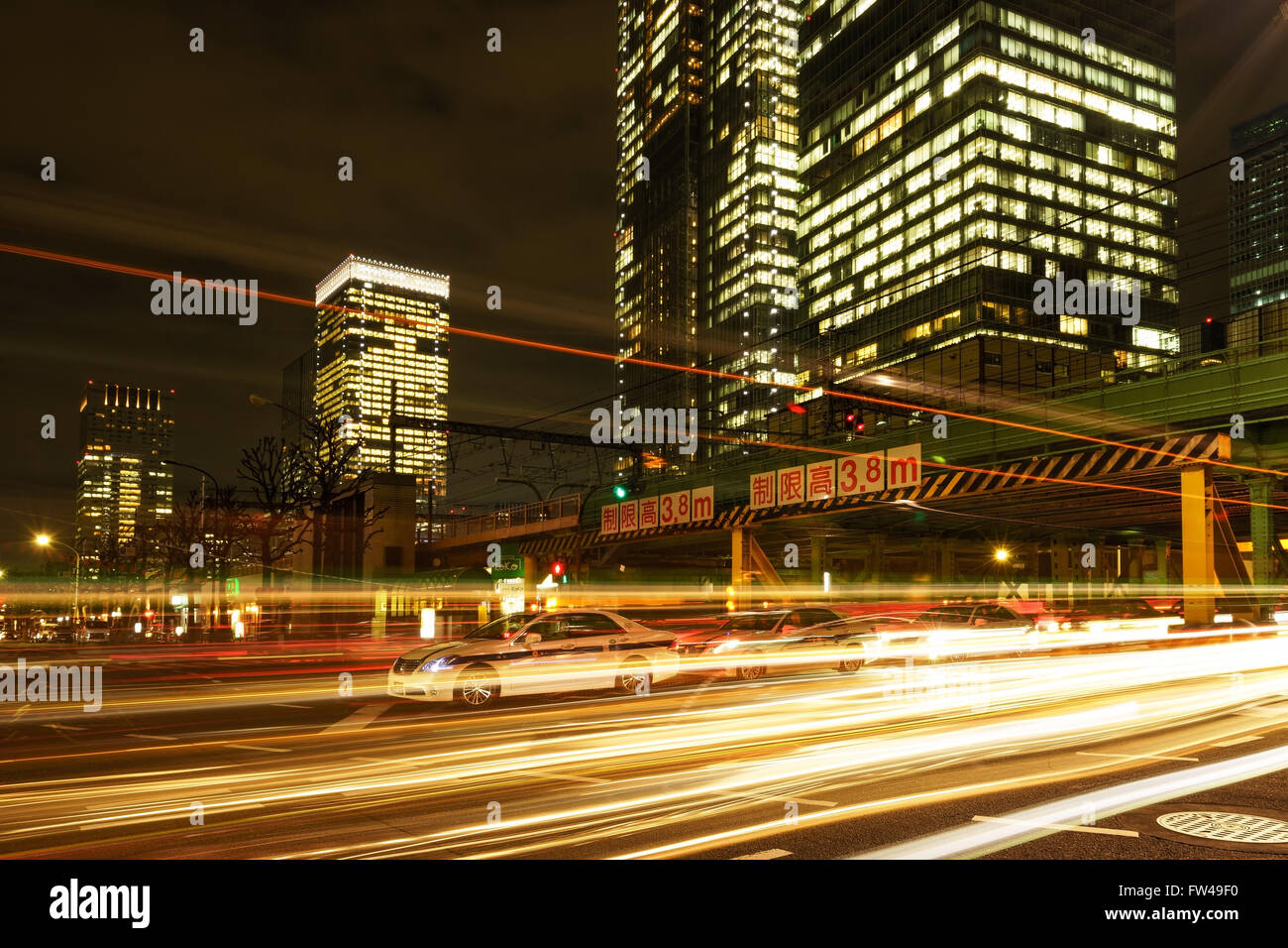 Car light trails in Tokyo, Japan. - Stock Image