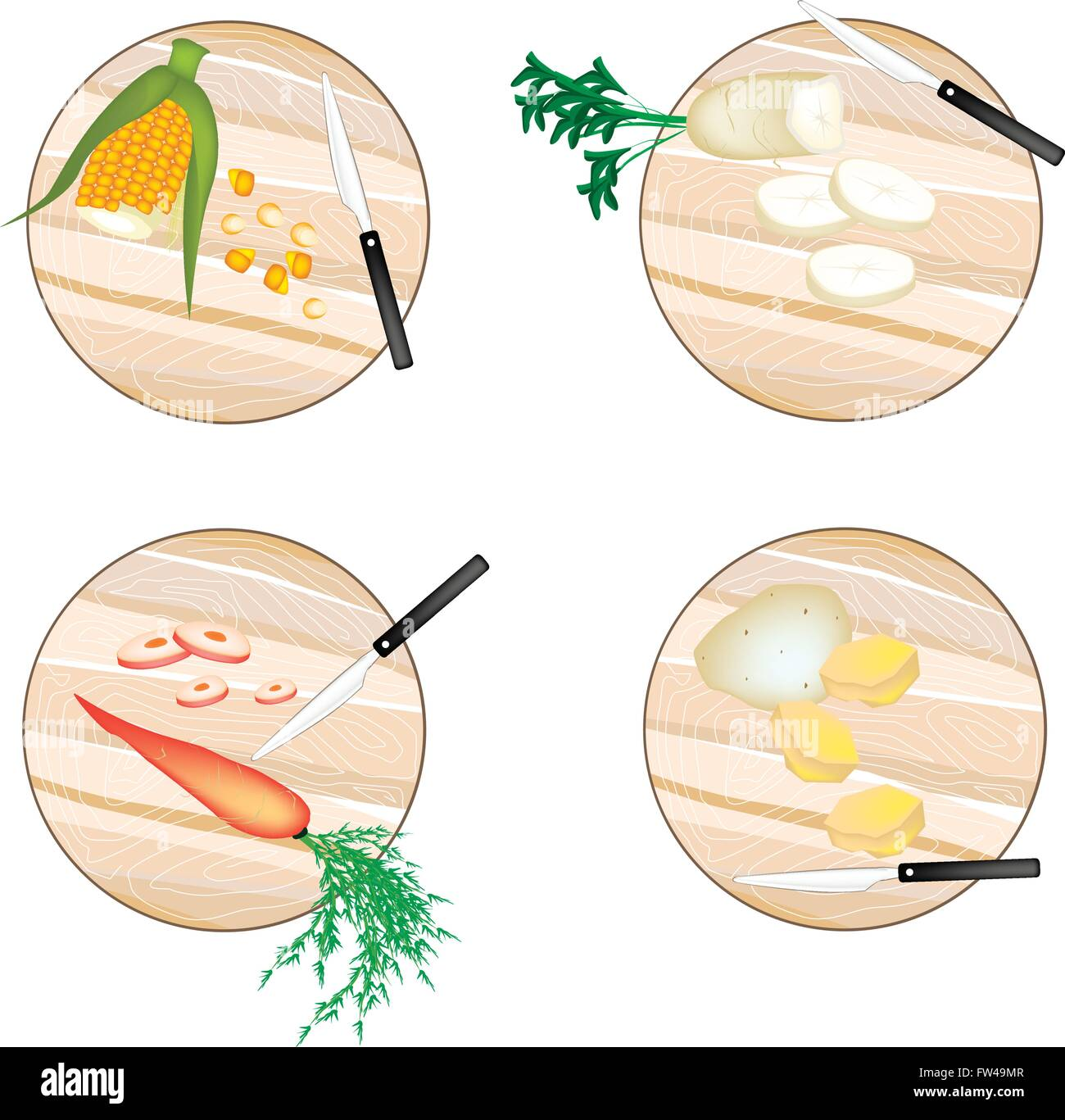 Vegetable, Illustration Sweet Corn, White Radish, Carrot and Potatoes on Wooden Cutting Boards. - Stock Image