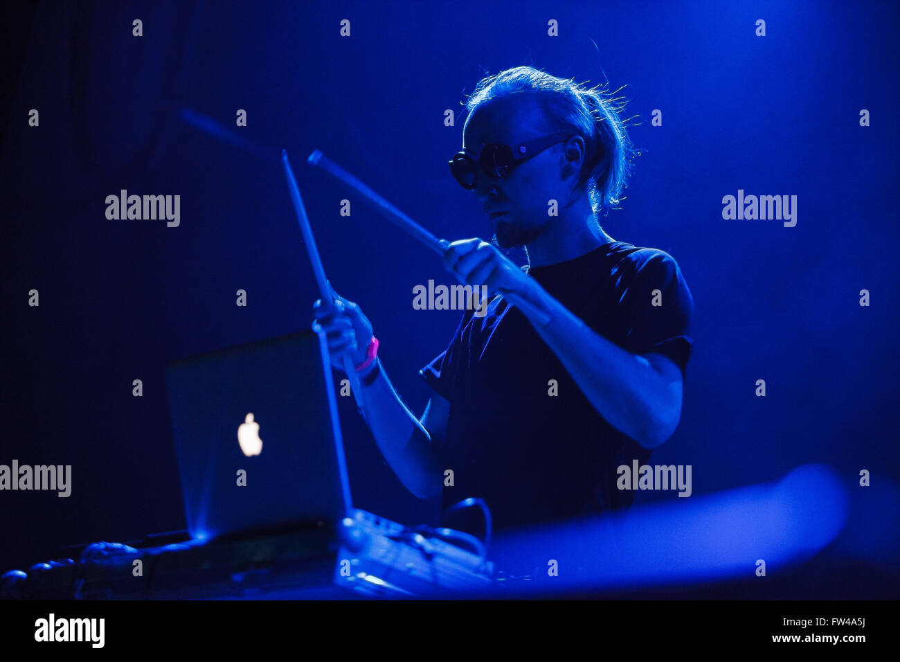 MOSCOW - 30 MARCH, 2016 - Ic3peak warming up on stage before famous trip hop singer Tricky in Yotaspace club - Stock Image
