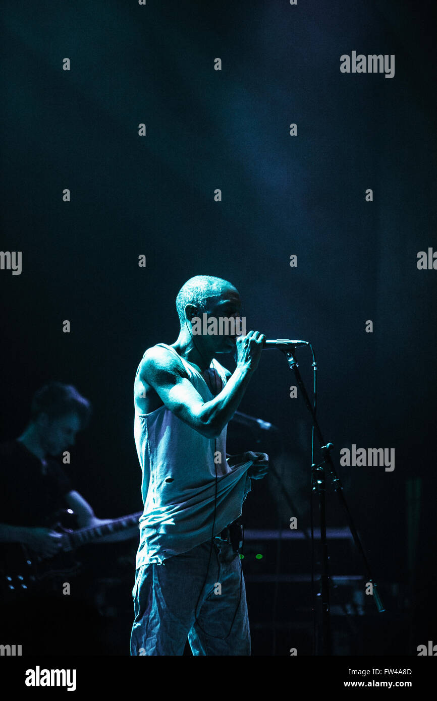 MOSCOW - 30 MARCH, 2016 - Famous trip hop producer and singer Adrrian Thaws known as Tricky presents his album Skilled - Stock Image