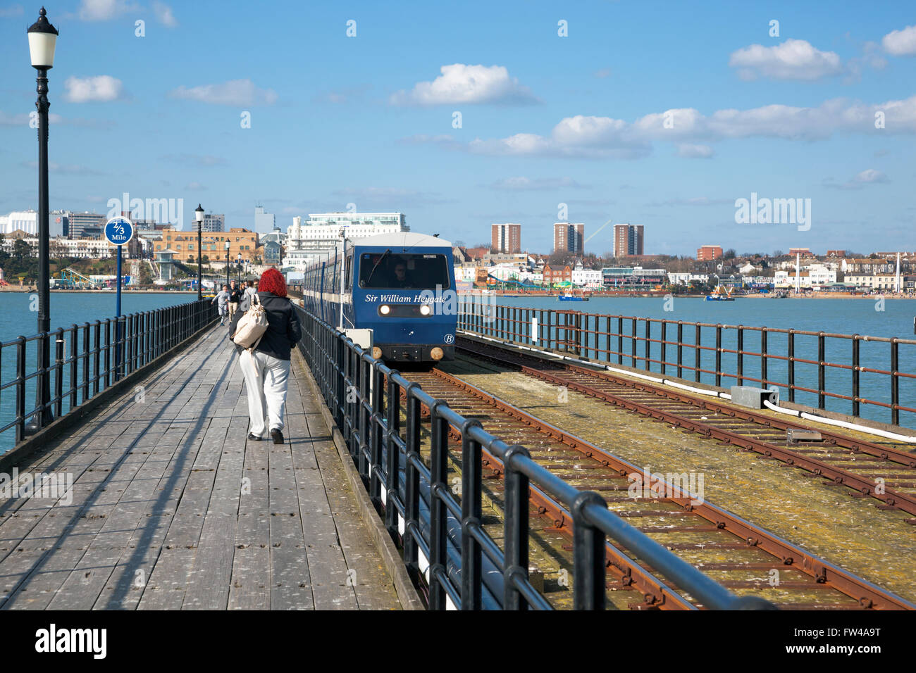 Southend Pier the walkway and the train, Southend-on-Sea, UK - Stock Image