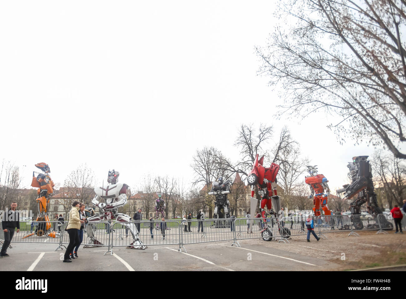 ZAGREB, CROATIA - MARCH 26, 2016 : Exhibition by Danilo Baletic (23) named Transformers protecting Zagreb on square Stock Photo
