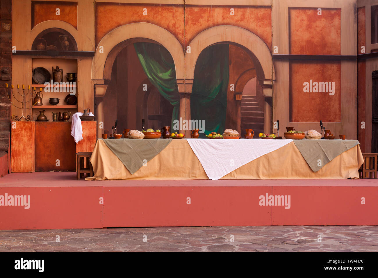 Scenery set up for the Last Supper scene in the Passion Play, Adeje, Tenerife, Canary Islands, Spain.Representacion - Stock Image
