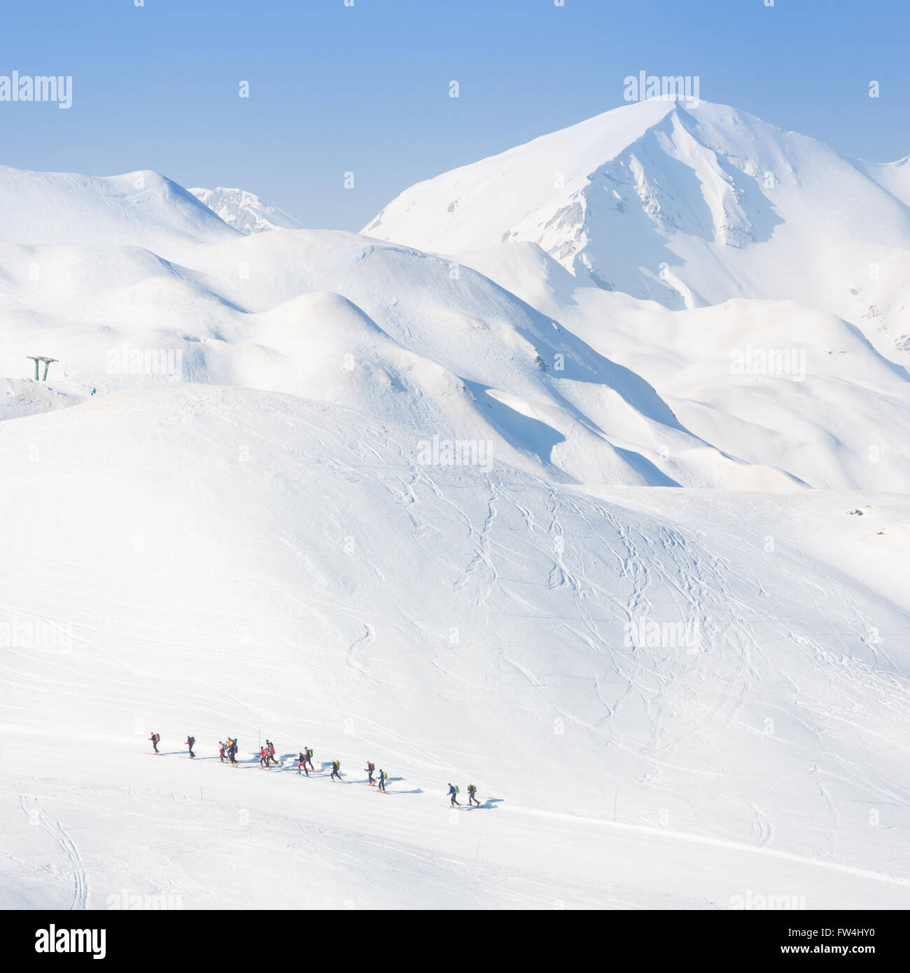 Group of touring skiers. - Stock Image