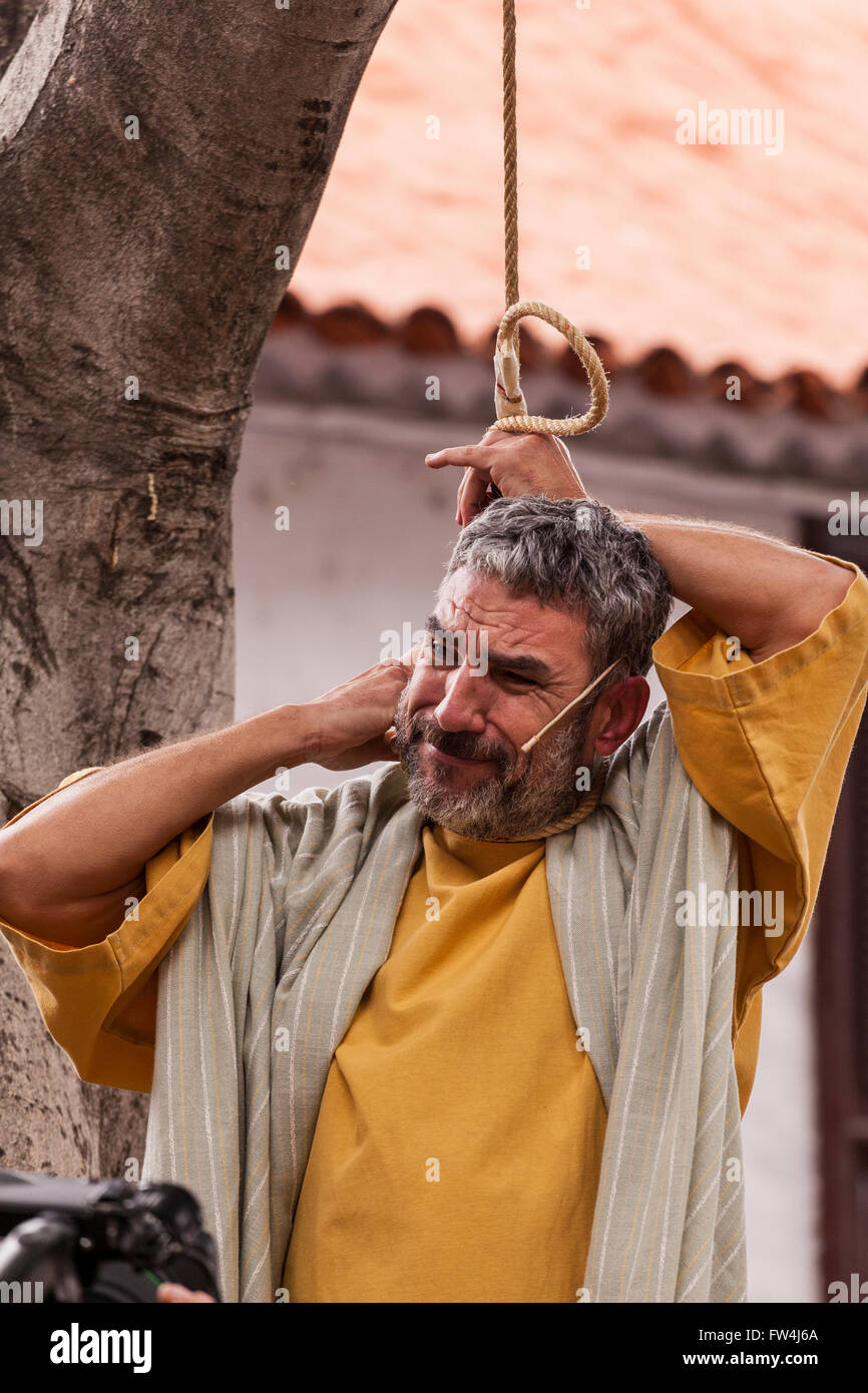 judas hangs himself in the passion play adeje tenerife canary