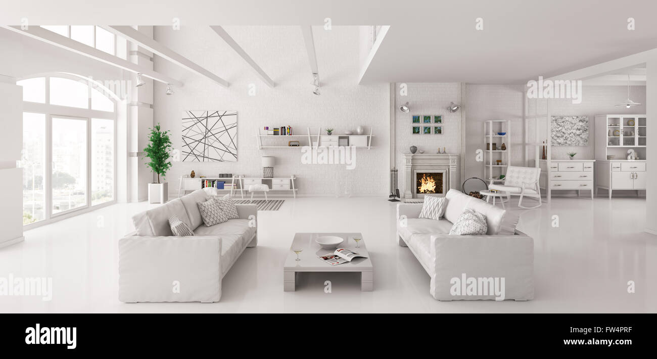 Interior of white apartment with two sofas interior 3d render Stock ...