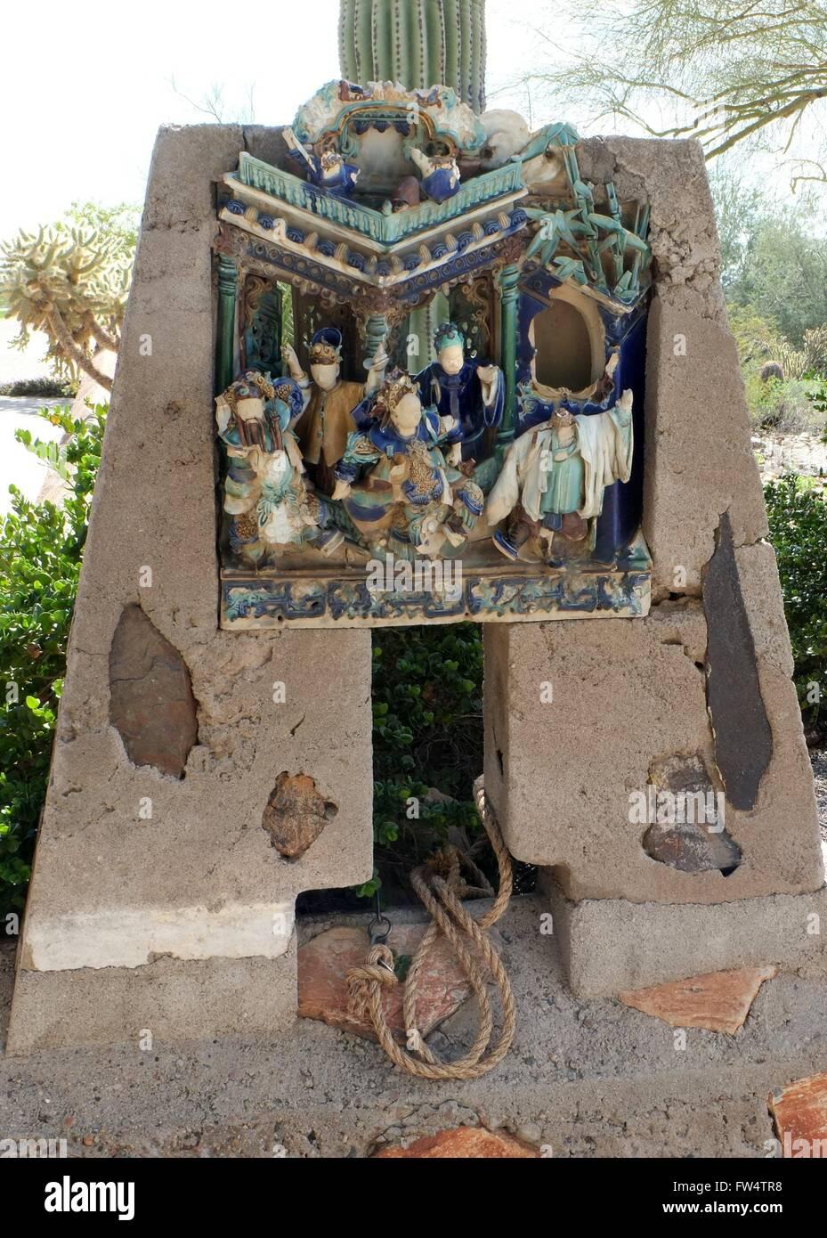 Famous broken Chinese Statuary, Taliesin West, AZ - Stock Image