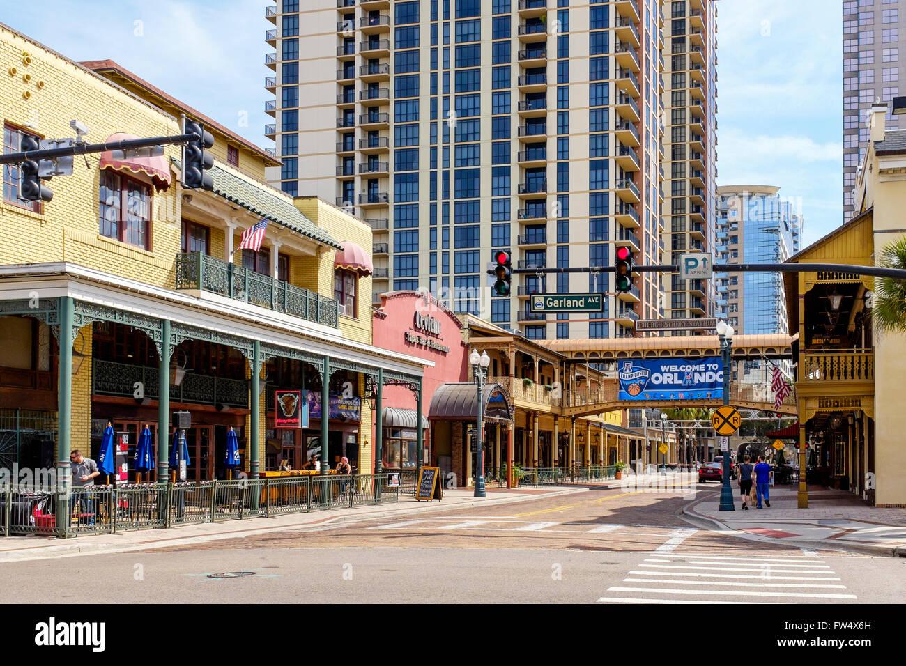 Church Street, Downtown Orlando, Florida, America Stock