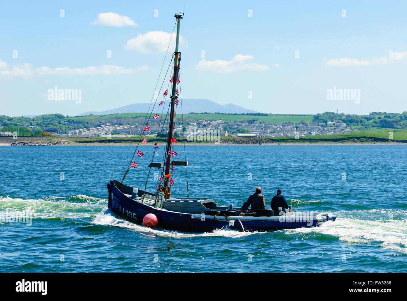 LL105 Euphoria at the start, Maryport Trawler Race 2013, Maryport, Cumbria - Stock Image