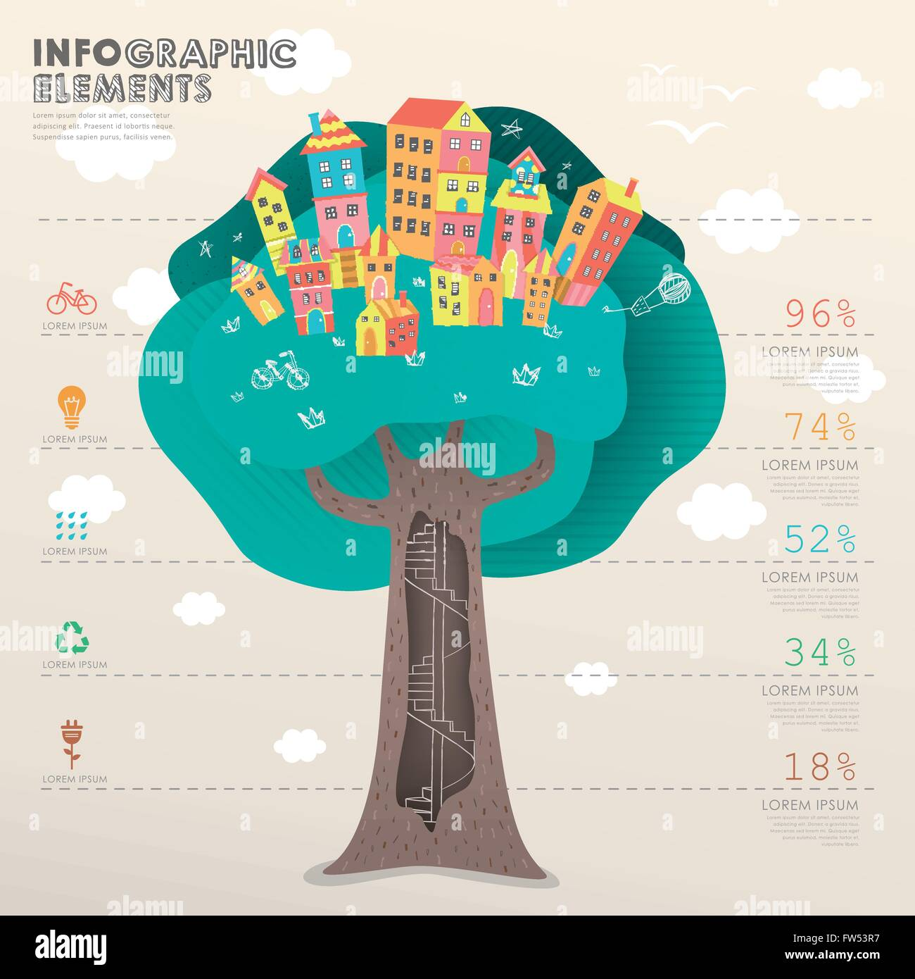 vector infographic template with tree beneath houses Stock Vector