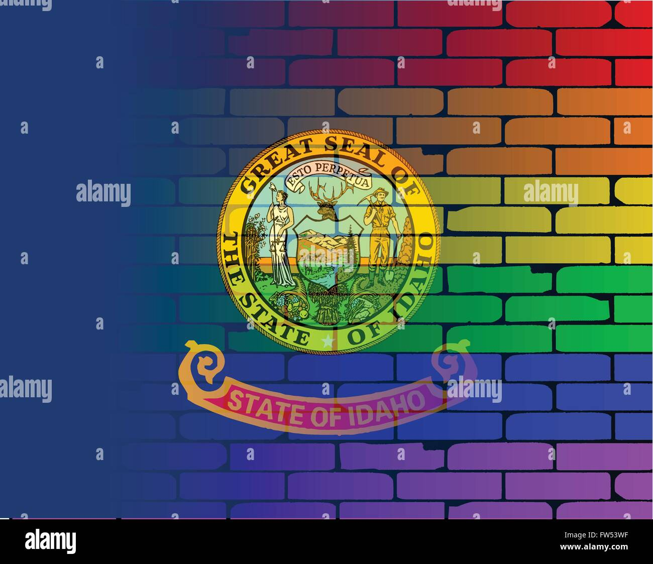 A well worn wall painted with a LGBT rainbow with the Idaho state flag - Stock Vector