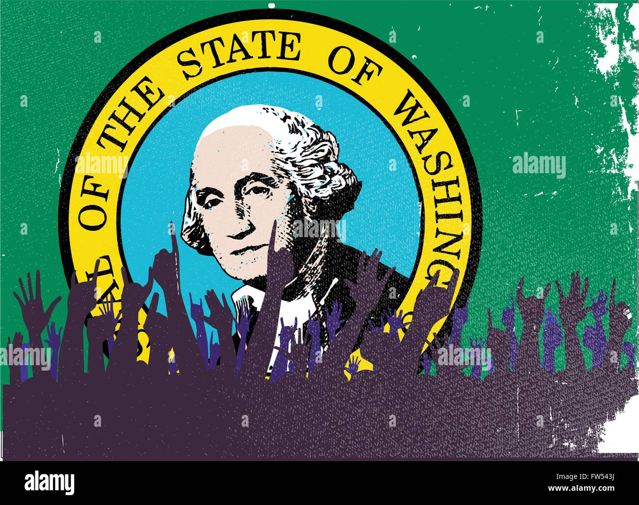 Audience happy reaction with Washington State flag background - Stock Vector