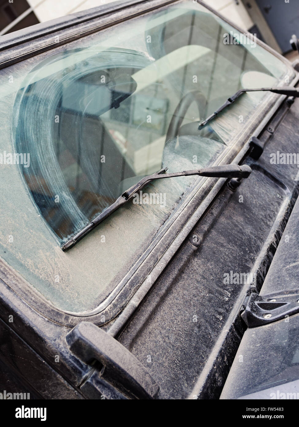 Dirty windshield of the SUV - Stock Image