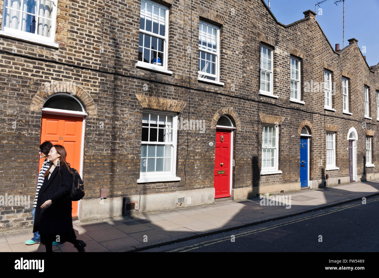 Victorian brick terraced houses on Roupell Street in Lambeth, London, England. - Stock Image