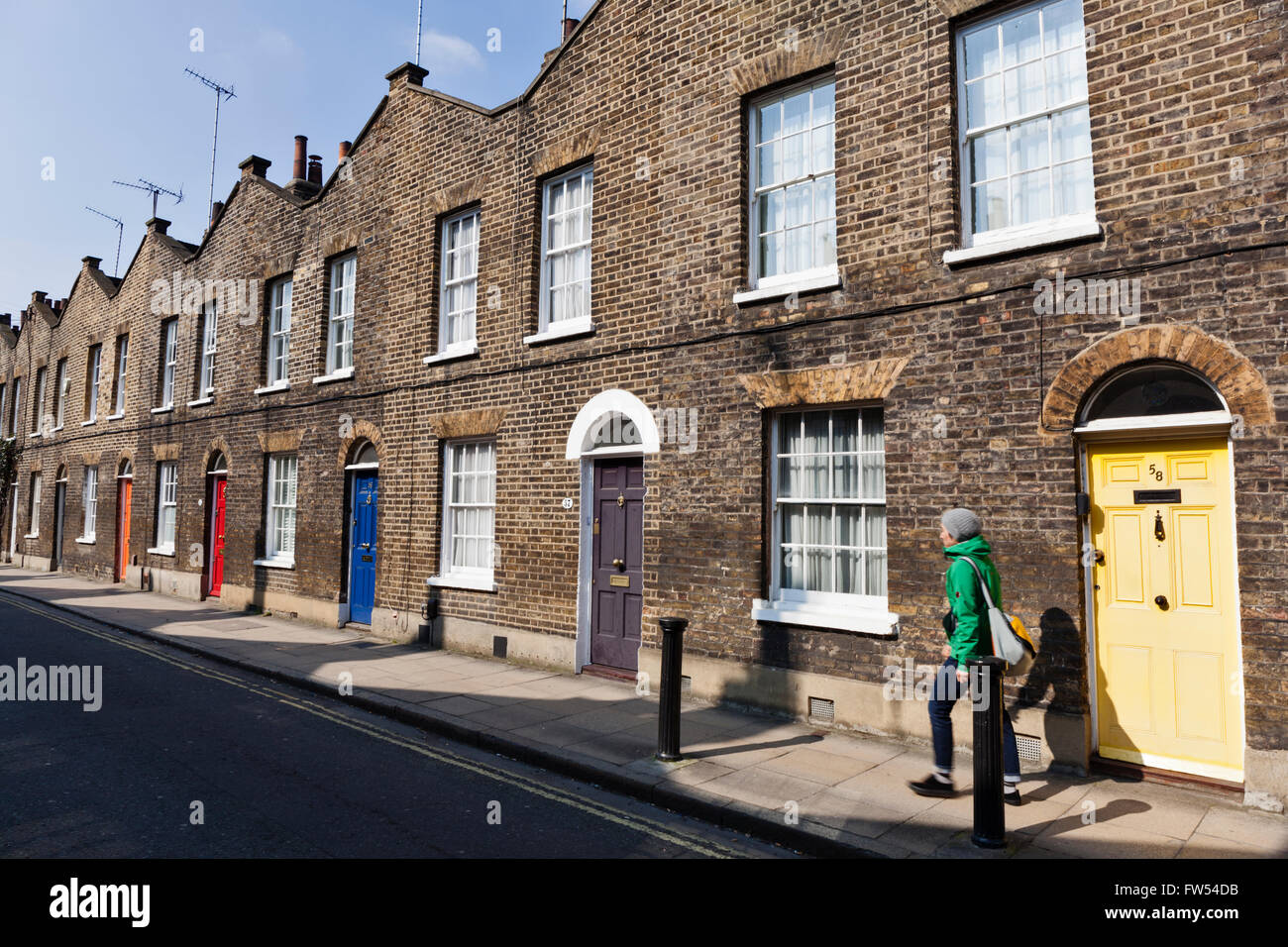 Victorian brick terraced houses on Roupell Street in Lambeth, London. - Stock Image