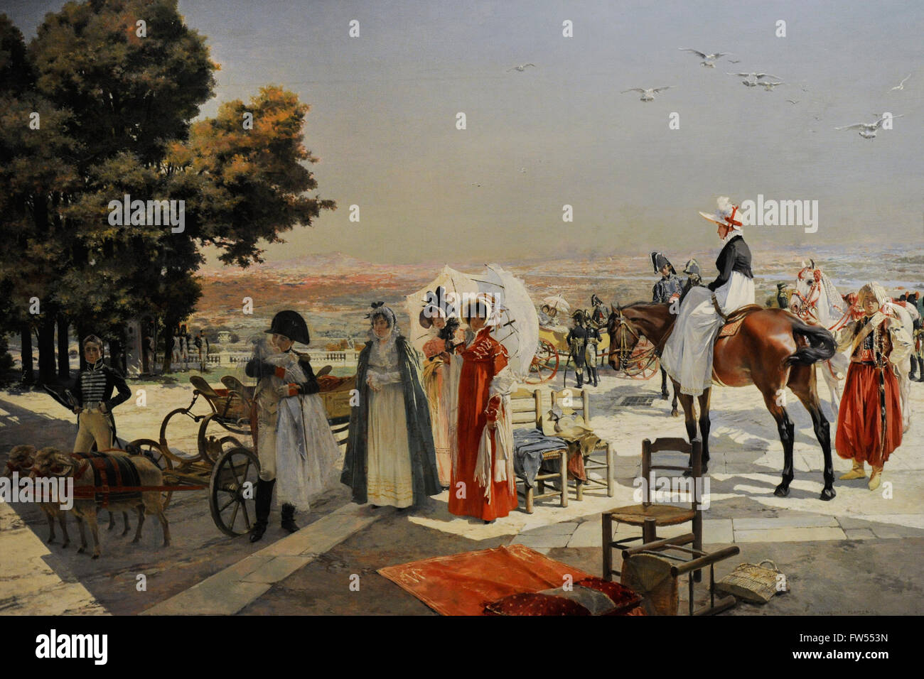 François Flameng (1856-1923). French painter. Napoleon I and the king of Rome at Saint-Cloud in 1811, 1896. Oil Stock Photo